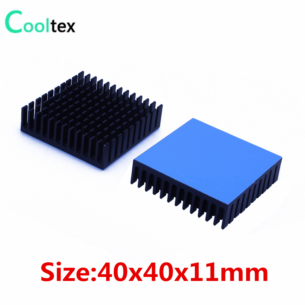 4pcs 40x40x11mm Aluminum Heatsink Heat Sink Radiator Cooling cooler For Electronic Chip IC LED With Thermal Conductive Tap 10pcs lot ultra small gvoove pure copper pure for ram memory ic chip heat sink 7 7 4mm electronic radiator 3m468mp thermal