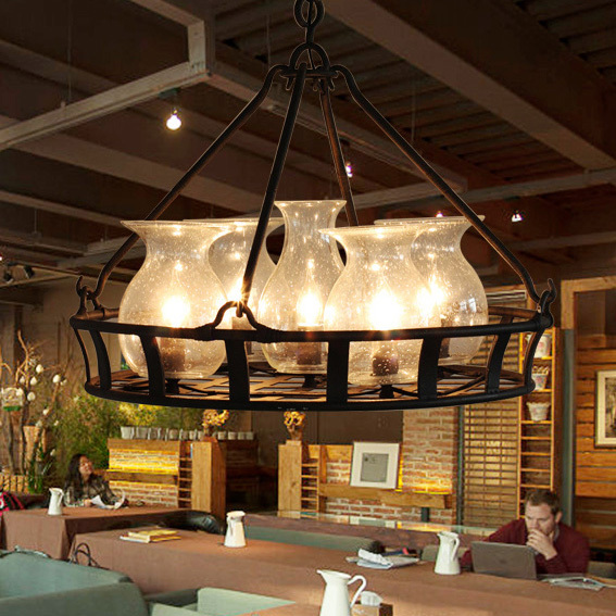 American Vintage Country Pendant Lights Fixture Glass Bottle Basket Droplight Dining Room Restaurant Cafes Shops Pendant LampsAmerican Vintage Country Pendant Lights Fixture Glass Bottle Basket Droplight Dining Room Restaurant Cafes Shops Pendant Lamps