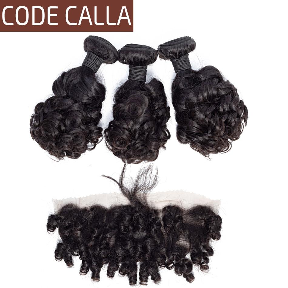 Code Calla Bouncy Curly Salon Human Hair Bundles With Lace Frontal Closure Brazilian Hair 3 Bundles