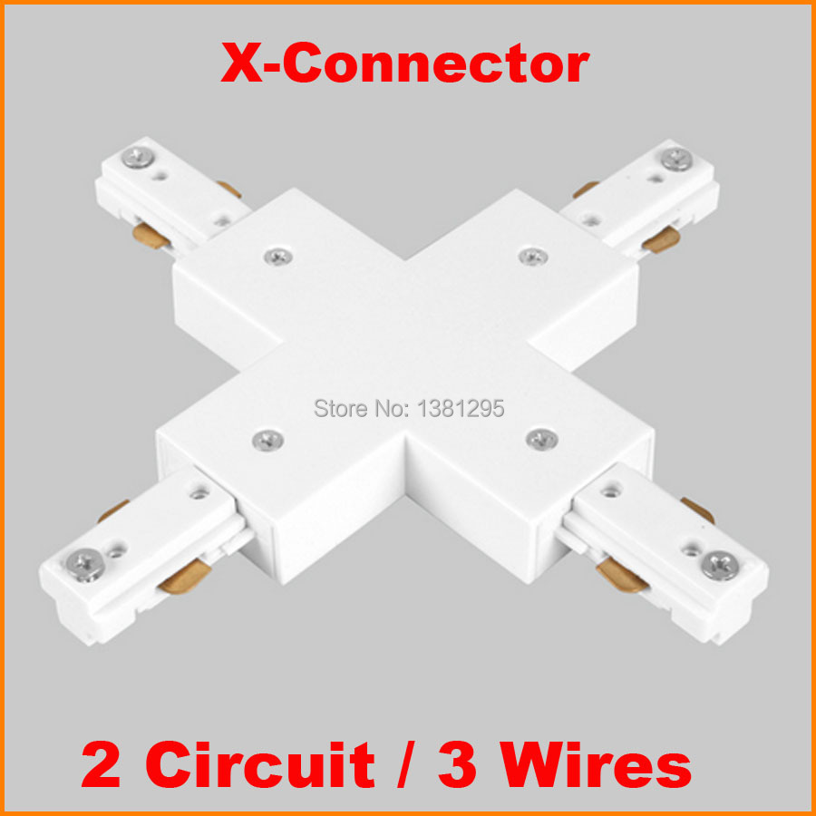 3 Wire 2 Circuit LED Lighting Track Rail X shape connector track ...