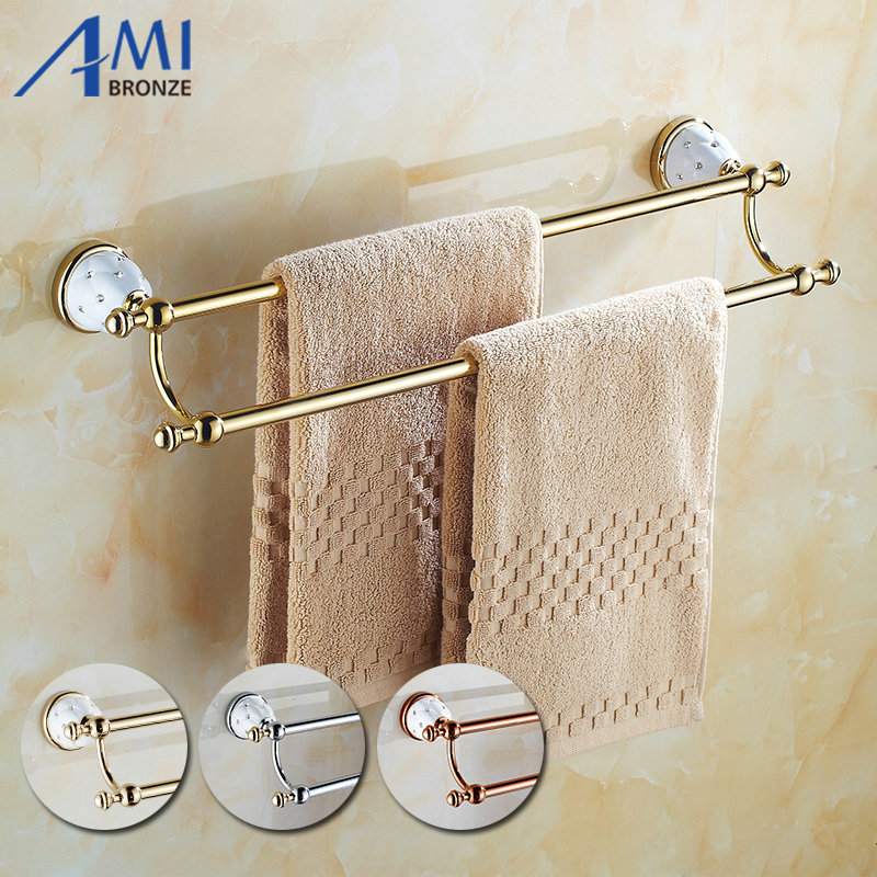 63GD Series Golden Polish Towel Bar with Diamond Bathroom Accessories Double Towel Bar Towel Rack With Hook Towel Shelf 50CM towel bar k37355afd