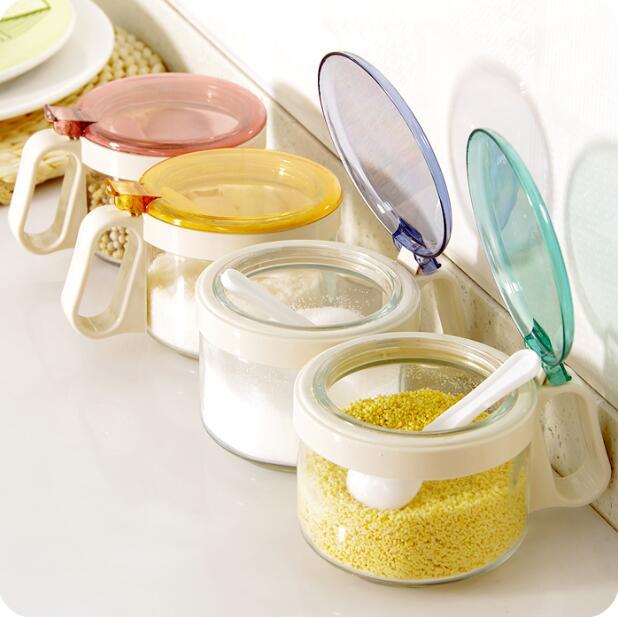 One Piece Lid Glass Jars Spice Bottle Household Seasoning Box Kitchen Sugar  Salt Container(China
