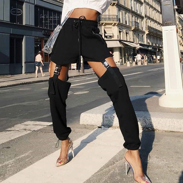 Gran Oferta Pantalones Casuales Negros A La Moda Para Mujer Otono 2019 Ropa De Calle Pantalones Largos De Moda Kpop Pantalones De Chandal De Estilo Punk Para Ejercicio Pantalones Y Pantalones Capri