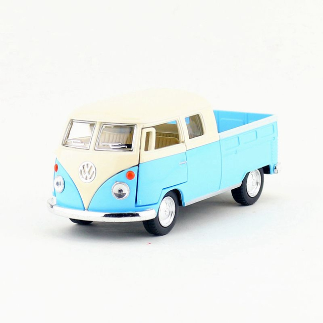 Kinsmart Cast Metal Model 1 34 Scale 1963 Volkswagen Bus Double Cab Pickup Toy Pull Back Car For Children S Gift Collection