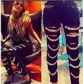 2016 limitado en el tiempo limited algodón poliéster medio mid colección hot sexy jeans pies pantalones vaqueros de las mujeres 2017 de la manera con el cadena