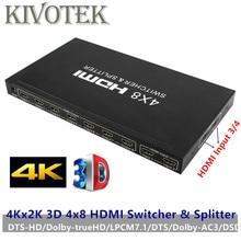 4K x 2K 3D 4x8 HDMI Switcher/divisor y control IR RC compatible con DTS/Dolby AC3/DSD, adaptador de corriente para pantalla de vídeo HDTV envío gratis