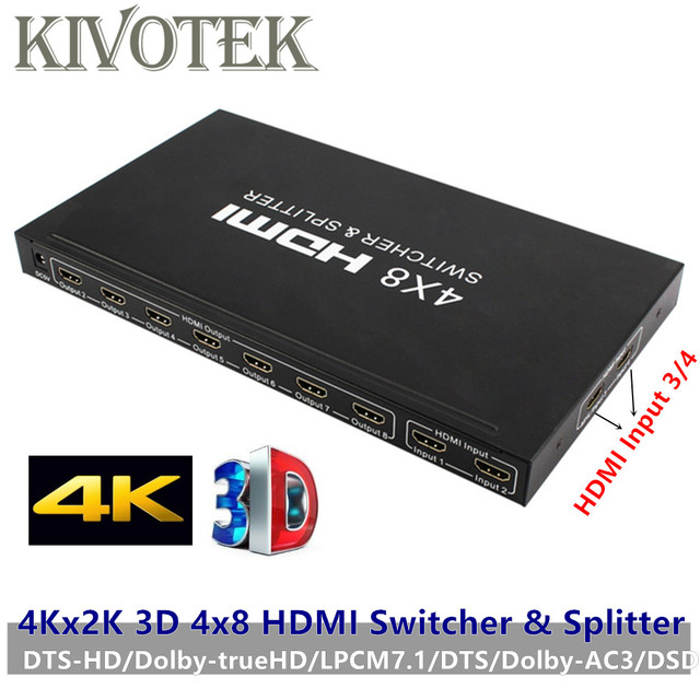 4Kx2K 3D 4x8 HDMI Switcher/Splitter,IR RC Control Support DTS/Dolby AC3/DSD,Power Adapter For HDTV Video Display Free Shipping