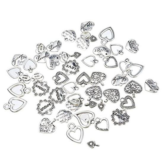 30pcs Mixed style Heart Pendants Charms Findings - Jewellery Making Findings for DIY Craft
