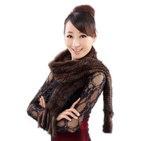 New Ms muffler genuine mink fur scarf hand knitted mink scarves wholesale and retail