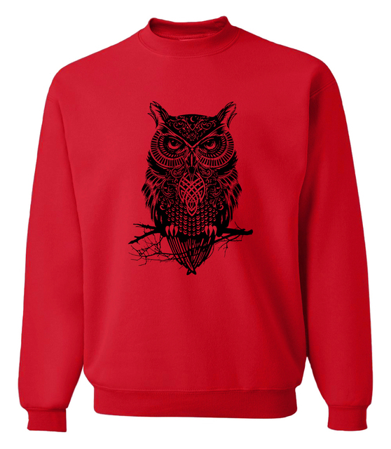 Men's Owl Printed Cotton Sweatshirt