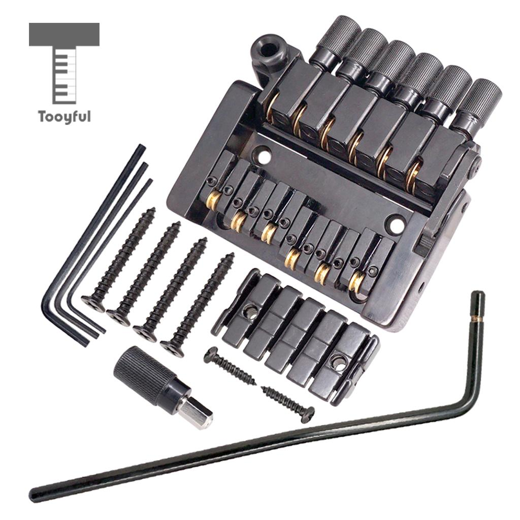 Tooyful Set of 6 String Roller saddle Tremolo Bridge Tailpiece for Headless Electric Guitar Parts a set chrome vintage shape saddle bridge for 5 string electric bass guitar top load or strings through body