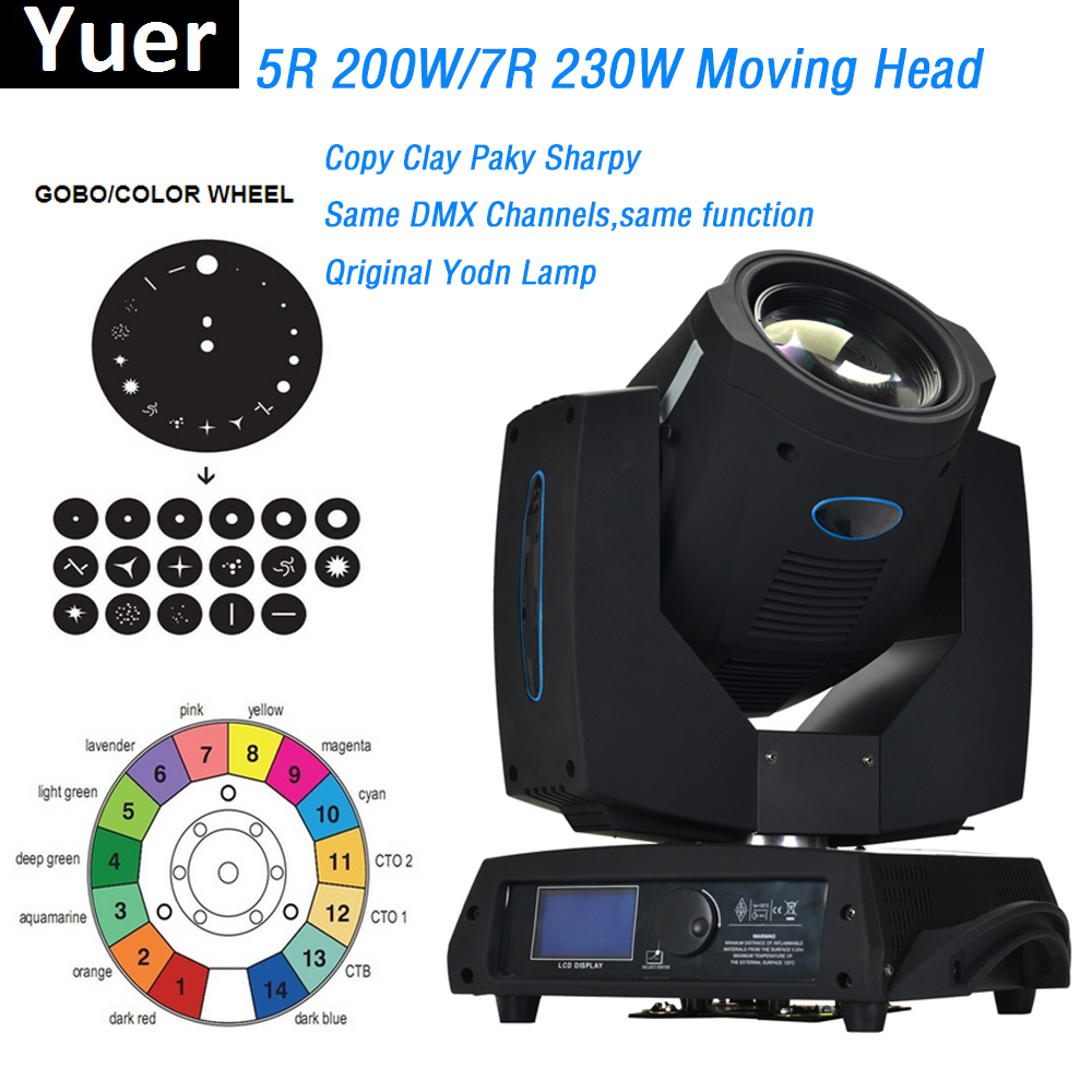 Us 655 0 200w 230w moving head light copy clay paky sharpy original yodn lamp bulb 16 20 dmx 512 control channels dj disco party lighting in stage