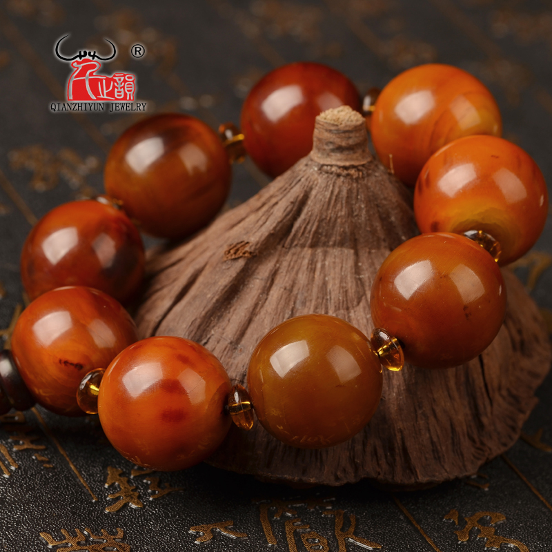 25mm natural black flower yak horn blood silk is round bucket bead hand string high-quality DIY bone bracelet. 2016 70 70 silk pillow quality certification brand yilixin silk place moscow delivery natural high quality silk pillow