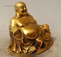 S06231 4 Chinese Buddhism Bronze Gild Seat Happy Laugh Maitreya Buddha Statue Sculptur