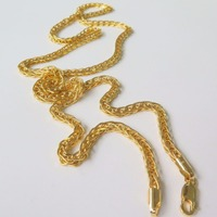 New Pure Fine Yellow Gold 2.5mm W Perfect Wheat Chain Necklace