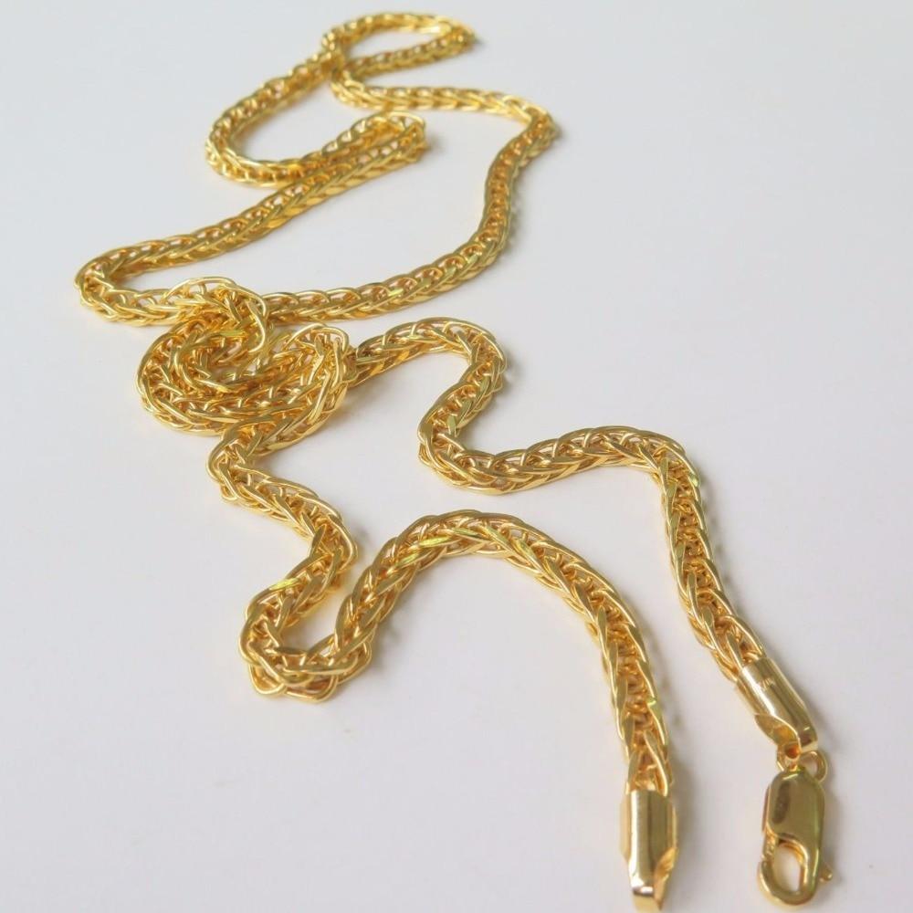 Nouveau collier de chaîne de blé parfait pur or jaune 2.5mm W