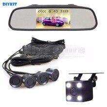 DIYKIT 5Inch Automotive Mirror Monitor Video Parking Radar four Sensors + four x LED Automotive Rear View Automotive Digicam Parking Help System