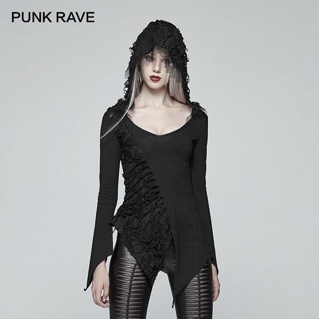 PUNK RAVE New Dark Gothic Retro Cotton Hooded tees Asymmetric Long Sleeve Women Casual T-shirt Slim-fit Version Streetwear Tops