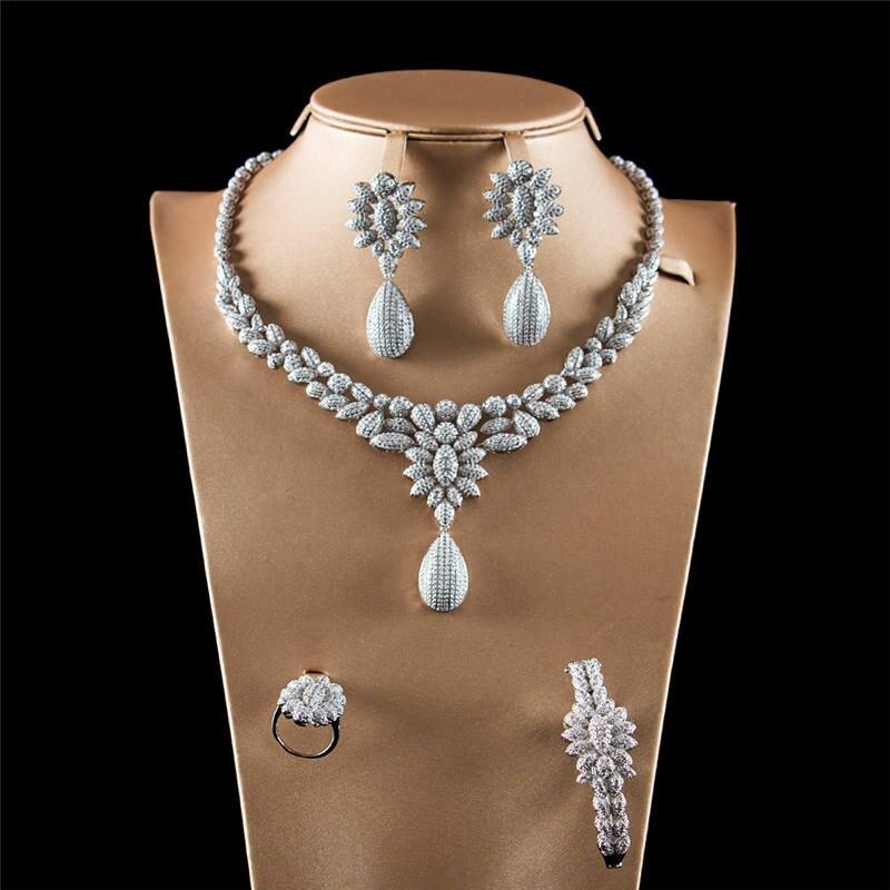 Breloque goutte d'eau couleur argent ensembles de bijoux zircone coloré cristal pendentif collier boucles d'oreilles anneau bijoux de mariée