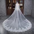 Novo Estilo longo de 3 Metros de Comprimento Uma Camadas Véus De Noiva Rendas Véus De Noiva Branco Com Lantejoulas Acessório De Noiva