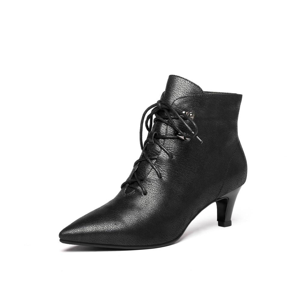 2019 nieuwe aankomst britse stijl med kitten hakken ziper plus size luxe koe lederen oxford puntschoen prachtige korte laarzen l2f1-in Enkellaars van Schoenen op  Groep 3
