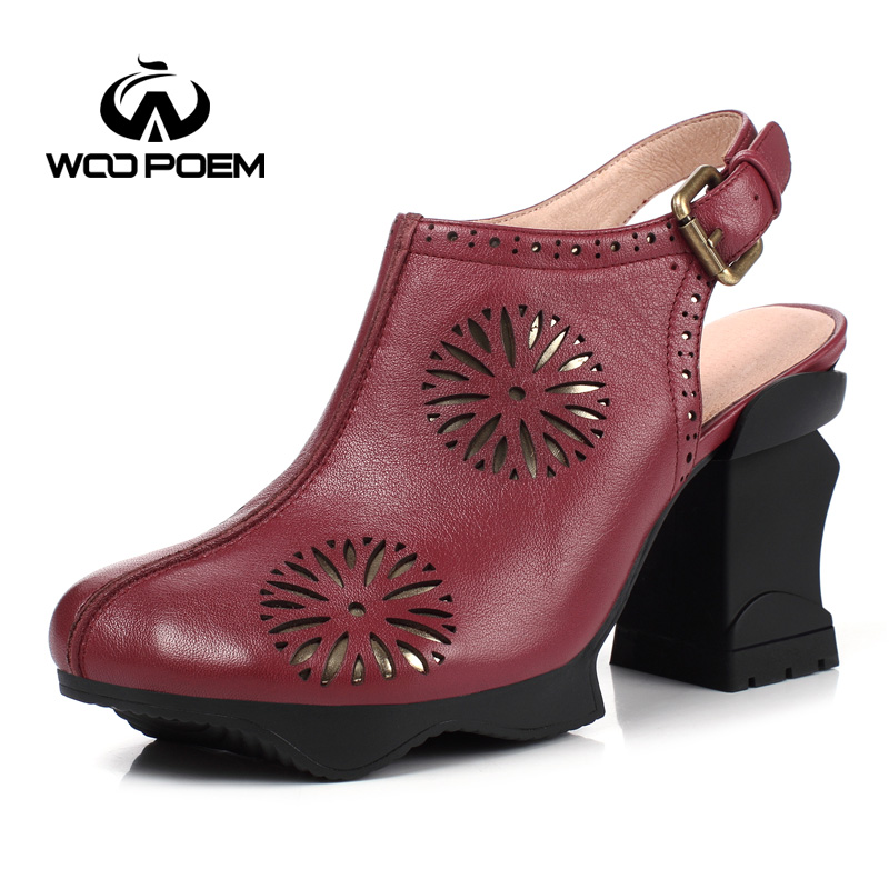 WooPoem Spring Autumn Shoes Women Breathable Cow Leather Pumps Super High Heels Shoes Fashion Buckle Women Pumps W17F7713G free shipping candy color women garden shoes breathable women beach shoes hsa21