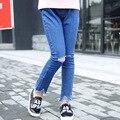 Nova para a Primavera Eo Outono meninas Novidade Calça Jeans Jeans Reta Sólida para 3-12Y