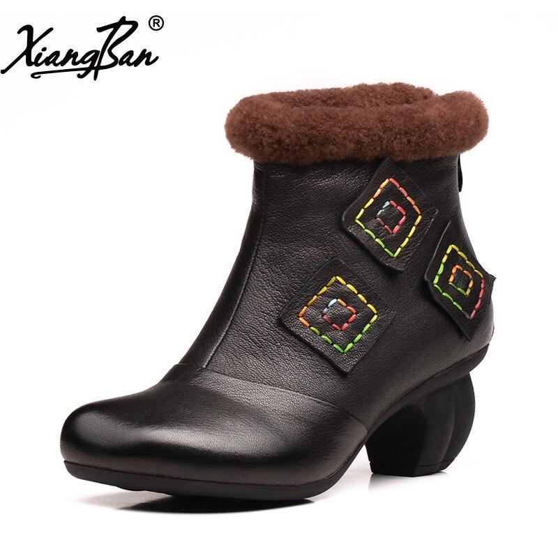 2018 Winter Women Shoes High Heel Ankle Boots Velvet Inside Warm Ladies Boots Black Zipper Xiangban2018 Winter Women Shoes High Heel Ankle Boots Velvet Inside Warm Ladies Boots Black Zipper Xiangban