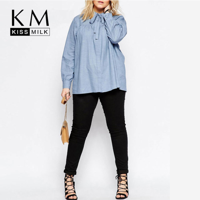 Kissmilk 2017 Women Plus Size Preppy Style Peter Pan Collar 3XL 4XL 5XL 6XL Big Large Size Solid Long Sleeve Shirt