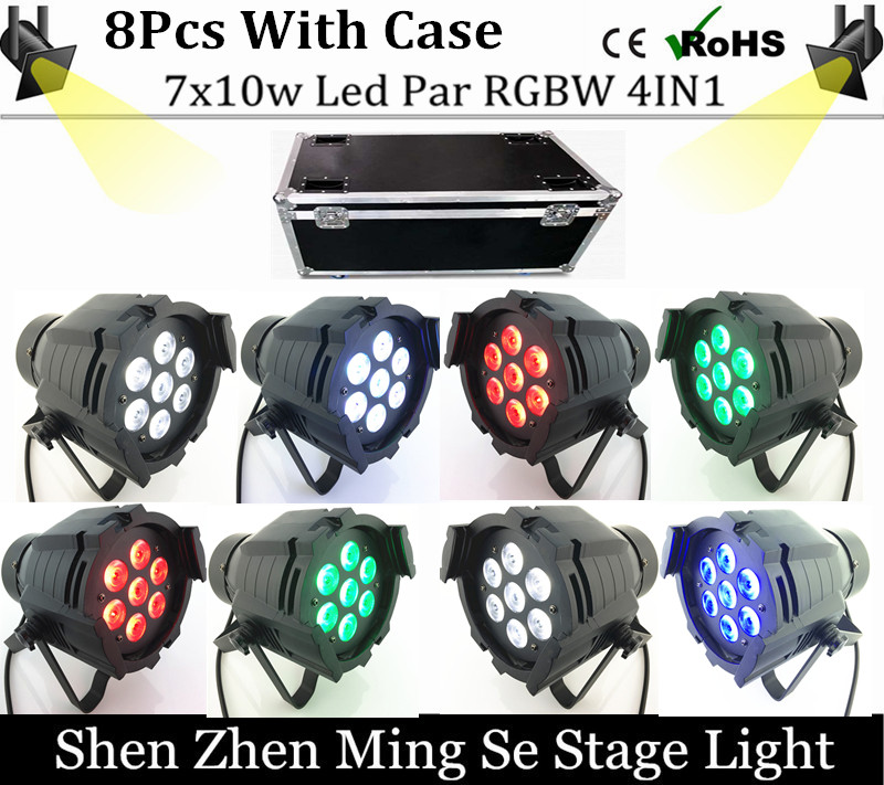 Фотография 8units 7x10W Led Par Light DMX512,RGBW Led Par Light,Mini Led Par 4in1 Cheap Price aluminum Led Par Light  with flight case