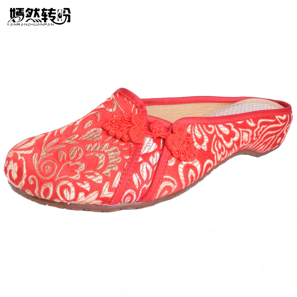 Women Summer Shoes Fashion Women Old Beijing Embroidery Home Slippers Casual Soft Shoes Mujer Plus Size 41 vintage embroidery women flats chinese floral canvas embroidered shoes national old beijing cloth single dance soft flats