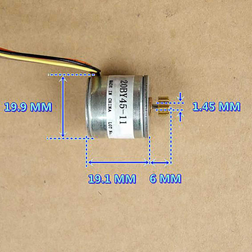 Two-phase Four-wire Photo Printer Stepper Motor with Copper Gear DC 6V 20BY45 Output Shaft 1.45mm Step Angle 18 Degrees
