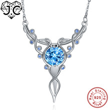 J.C for Women/Girl Wedding Accessories Necklace Round Citrine & Blue Topaz Solid 925 Sterling Silver Pendant Fine Jewelry hutang stone jewelry natural green turquoise blue topaz pendant solid 925 sterling silver necklace fine jewelry for women gift