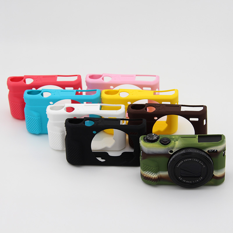 Camera Case Bag New Silicone Camera Case For Canon G7X Mark 2 G7X II G7X2 G7XII Protective Body Cover Bag with Lens Cap 8 Colors