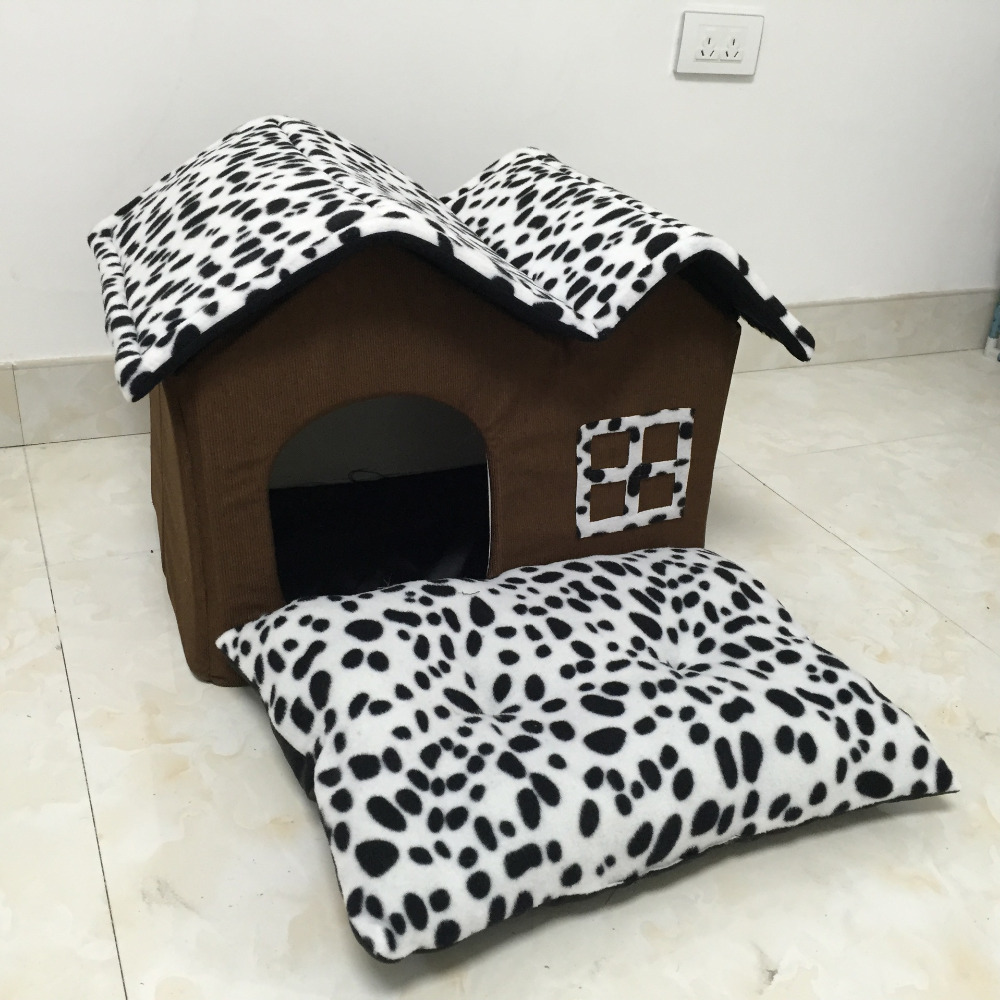 Double Dog Bed Dog Bed Black And White Spots Double Dog House Pp Cotton Folding Dog Bed For Large Dog House With Mat Pets Product Cats House In Houses Kennels