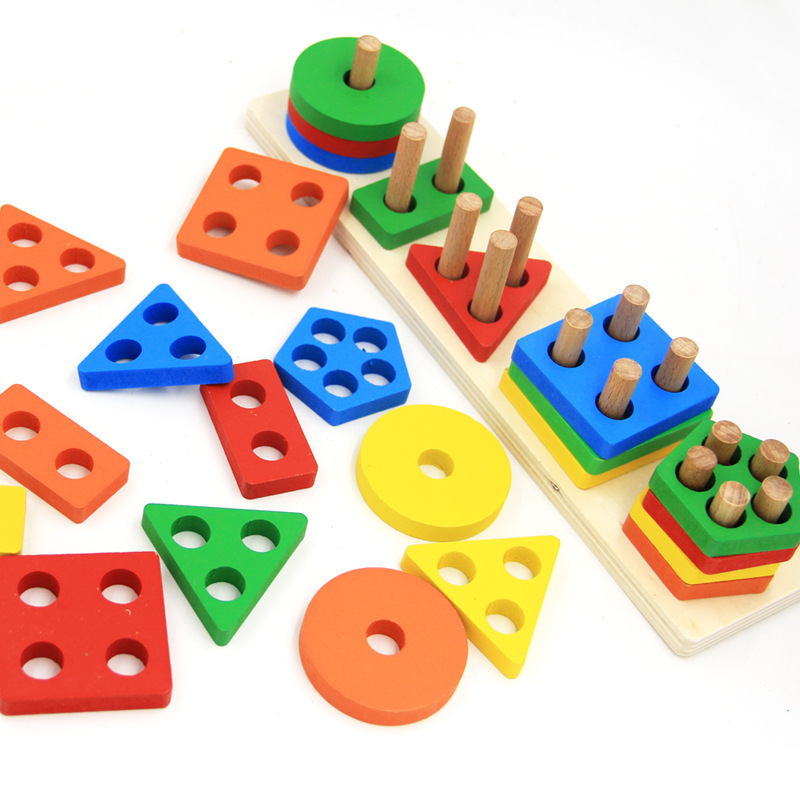Geometric Assembling Building Blocks Colorful Shape
