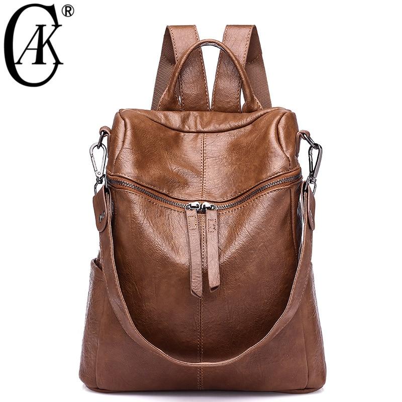 Cak marca Vintage mujeres Mochila De cuero suave mochilas escolares para adolescentes niñas Casual gran capacidad hombro bolsas de viaje 236