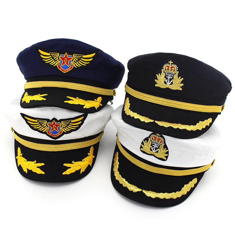 Navy Cap Bumbac Litoral Căpitan Uniform Hat Hat Albastru Sailor Cap Air Force Flying Hat pentru Baby & Adult