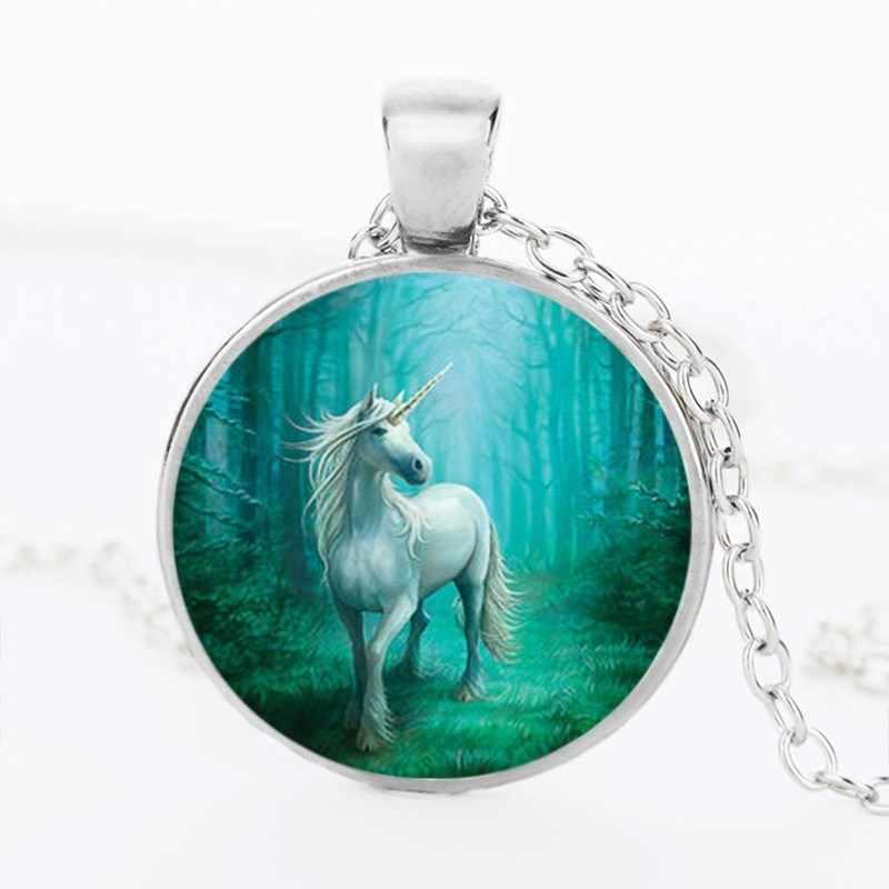 2018 3 لون كريستال زجاج الحصان يونيكورن الحيوان قلادة فضية سلسلة اليدوية والمجوهرات