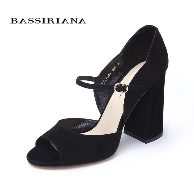 Высокие каблуки сандалии 2017 натуральная кожа твердый черный бордовый мода женская обувь квадратный каблук бесплатная доставка bassiriana