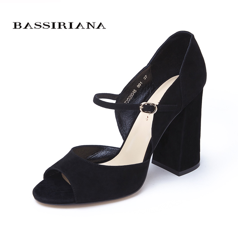 High heels sandals Genuine leather Solid black bordo Fashion womens shoes Square heel Free shipping size 35-40 BASSIRIANA sandals new summer 2017 basic shoes woman open back strap sandal square heel fashion beige black 35 40 free shipping bassiriana
