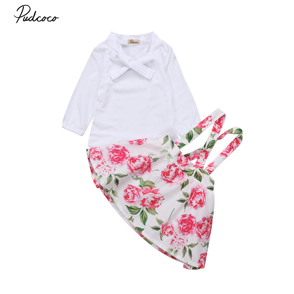 Lovely Kids Baby Girls Summer Floral Outfits Clothes Long Sleeve White T-shirt Tops+Flower Skirts Overalls Outfits Clothing Set girls baby long sleeve tops t shirt bib cartoon minnie 2pcs outfits set 1 5y