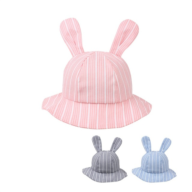 85d147b8ddd Fashion Rabbit Baby Hat Boy s Panama Cotton Striped Baby Cap Cute Ears Baby  Sun Cap Brim