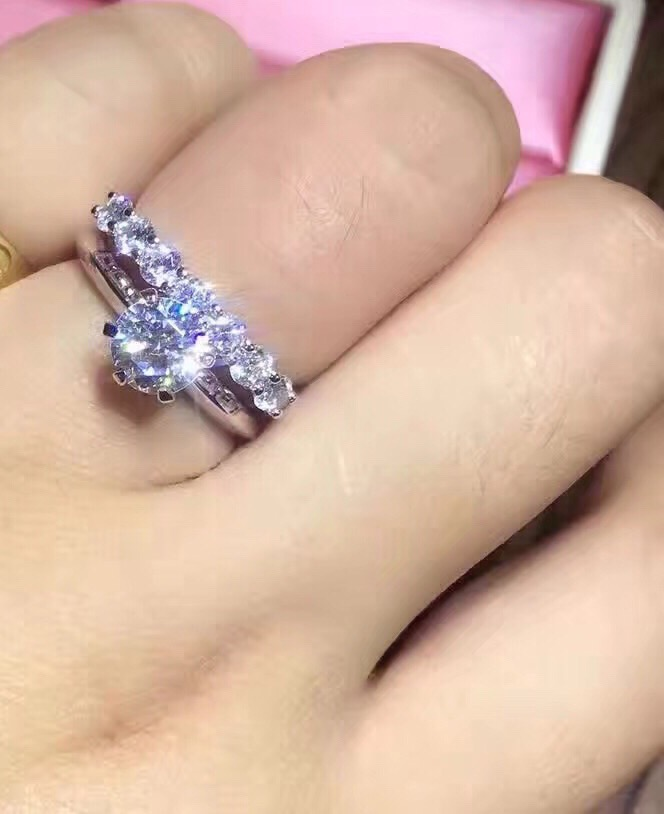 TRS04 NSCD Synthetic Gem Ring set for Women 1CT/2CT/3CT 925 Sterling Silver White Gold Color Engagement Wedding set