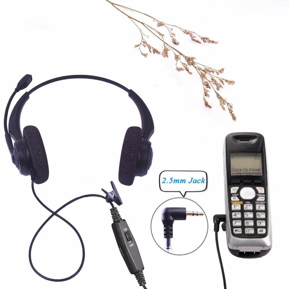 Wantek Arama Cordless Phone Headphones,2.5MM Telephone Headset with Noise Cancelling Boom Mic for Panasonic Dect Phones-Binaural 7