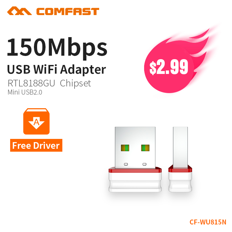 цены COMFAST Wifi Adapter Mini Wireless Network Card 150Mbps AP Function 2.4G Windows PC Receiver Wifi Dongle Plug And Play CF-WU815N