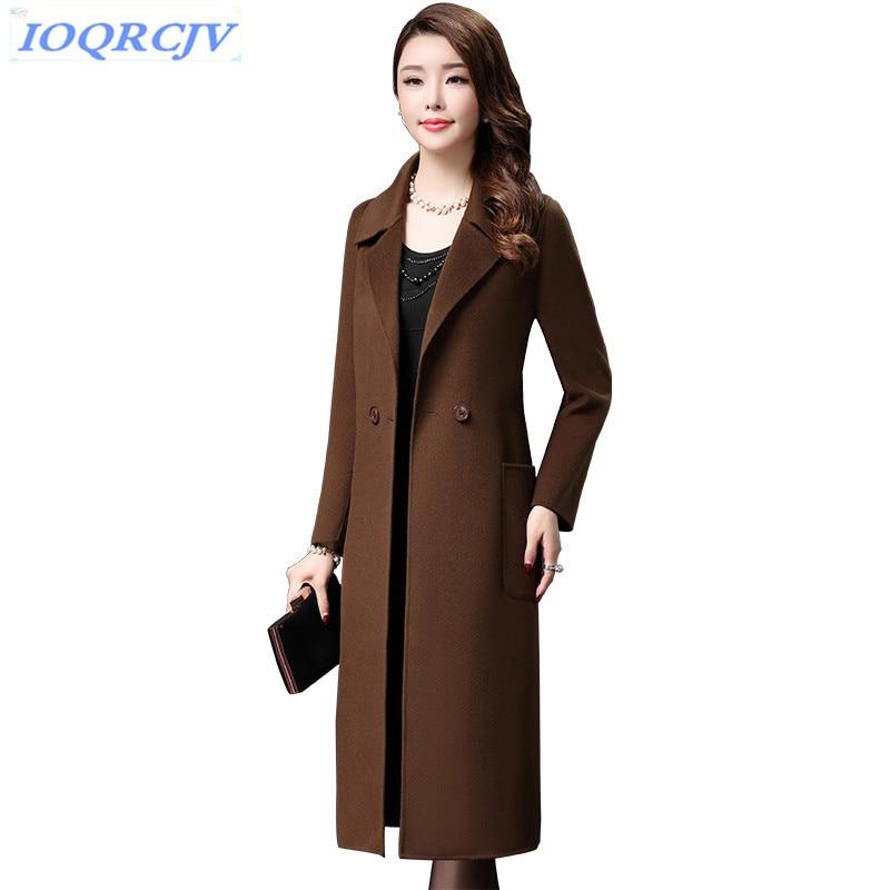 Double faced cashmere coat women 2018 autumn winter high quality Wool coat Plus size tops Slim female long Woolen jackets N125