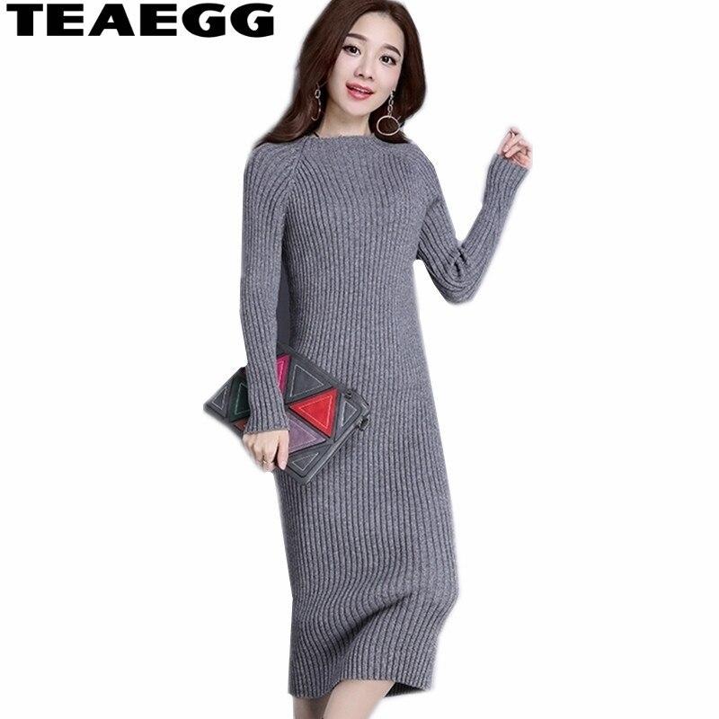 TEAEGG Robe Hiver femmes robes nouveauté 2019 Robe femmes vêtements gris Long élégant dames robes Femme Vestido AL474