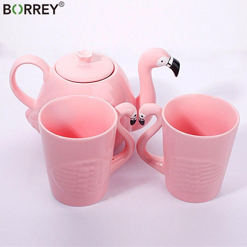 BORREY Creative Ceramic Teapot Set Flamingo Teacup Set Cute Animal Coffee Cup Pink Porcelain Tea Pot Birthday Gift Decoration