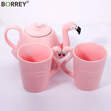 Teapot-Set Tea-Pot Porcelain Coffee-Cup BORREY Ceramic Flamingo Pink Cute Decoration
